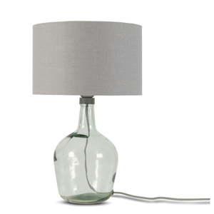 Stolní lampa se světle šedým stínidlem a konstrukcí z recyklovaného skla Good&Mojo Murano, ⌀30cm