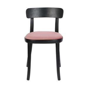 Sada 2 černých jídelních židlí s růžovým podsedákem Dutchbone Brandon