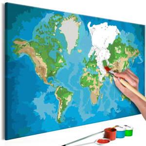 DIY set na tvorbu vlastního obrazu na plátně Artgeist Real Map World, 60x40 cm