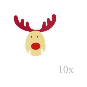 Sada 10 papírových ozdob na skleničky Neviti Rocking Rudolf