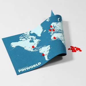 Modrá nástěnná mapa světa Palomar Pin World Mini, 77x48cm