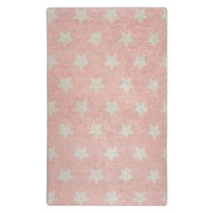 Růžový dětský protiskluzový koberec Chilai Stars,100x160 cm