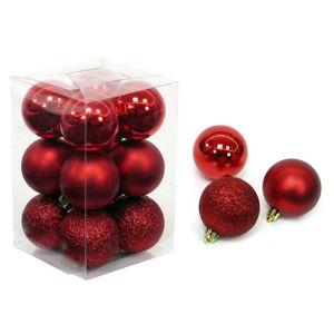 Sada 12 vánočních ozdob v červené barvě Unimasa Navidad