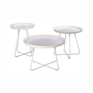 Sada 3 bílých kovových konferenčních stolků Nørdifra Pogorze