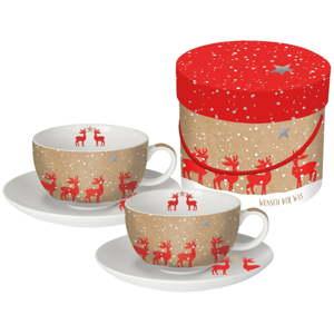 Sada 2 hrnků na cappuccino z kostního porcelánu s vánočním motivem v dárkovém balení PPD Make a Wish, 200 ml
