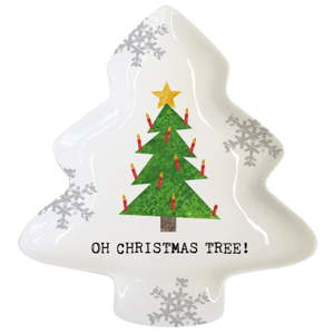 Dekorativní tác z kostního porcelánu s vánočním motivem PPD Oh Christmas Tree, 19,5 x 23 cm