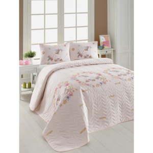 Set prošívaného přehozu a 2 povlaků na polštáře Eponj Home Unicornlar Pink, 200x220cm
