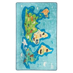 Modrý dětský protiskluzový koberec Chilai Map,140x190cm