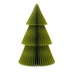 Třpytivě zelená papírová vánoční ozdoba ve tvaru stromu Only Natural, výška 22,5 cm