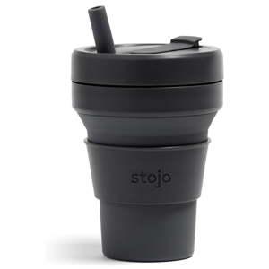 Černý skládací hrnek Stojo Biggie Carbon, 470 ml