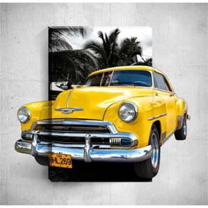 Nástěnný 3D obraz Mosticx Yellow Retro Car, 40 x 60 cm