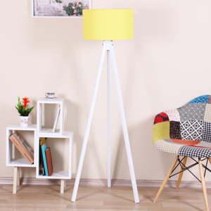 Bílá volně stojící lampa s neonově žlutým stínítkem Kate Louise Beyaz