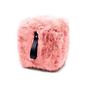Růžový hranatý puf z ovčí kožešiny s černým detailem Royal Dream, 45x45cm