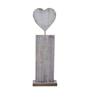 Dřevěná dekorativní soška se srdcem Ego Dekor, výška 76 cm