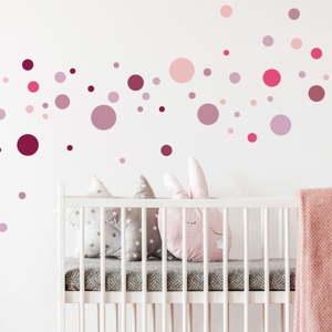 Sada 100 růžových nástěnných samolepek Ambiance Round Stickers