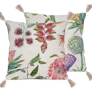 Béžový polštář s motivem květin Madre Selva Flores,45x45cm