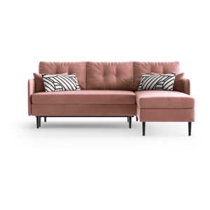 Růžová rohová rozkládací pohovka Daniel Hechter Home Memphis Pink, pravý roh