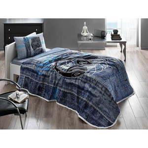 Set bavlněného přehozu, prostěradla a povlaku na polštář Listen V1 Blue, 160 x 230 cm