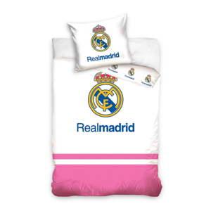 Dětské bavlněné povlečení na jednolůžko CARBOTEX Real Madrid Pink, 100 x 135 cm