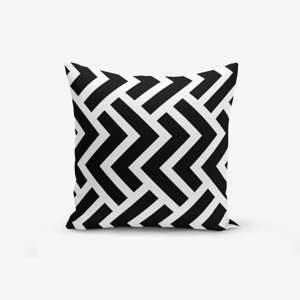 Černo-bílý povlak na polštář s příměsí bavlny Minimalist Cushion Covers Black White Geometric Duro, 45 x 45 cm