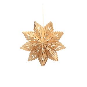 Papírová vánoční ozdoba ve tvaru vločky ve zlaté barvě Only Natural, délka 22,5 cm