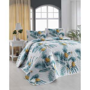 Set prošívaného přehozu a 2 povlaků na polštáře Eponj Home Custom Ananas White, 200x220cm