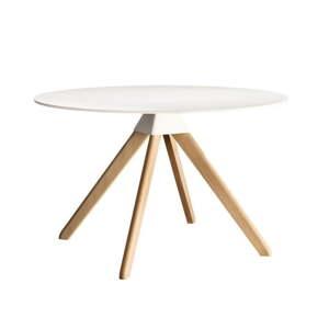 Bílý jídelní stůl s podnožím z bukového dřeva Magis Cuckoo, ø75cm