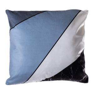Modro-šedý polštář JAHU Geometry Stripes, 45 x 45 cm