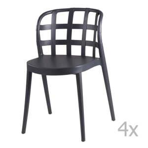 Sada 4 tmavě šedých jídelních židlí sømcasa Gina