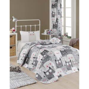 Set přehozu přes postel a povlaku na polštář s příměsí bavlny Eponj Home Duvarda Kediler Grey, 160 x 220 cm