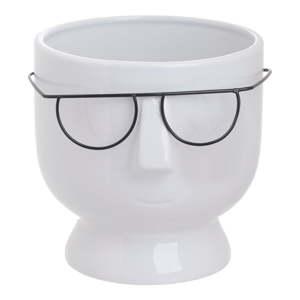 Bílá keramická váza InArt Face,výška16cm
