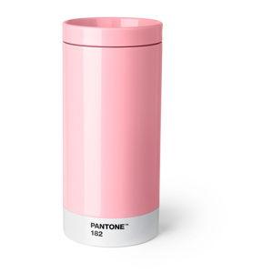 Světle růžový cestovní hrnek znerezové oceli Pantone, 430ml