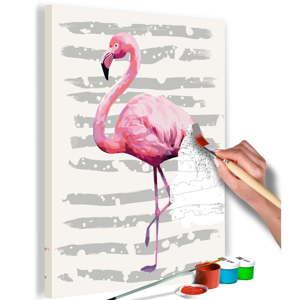 DIY set na tvorbu vlastního obrazu na plátně Artgeist Flamingo, 40x60 cm