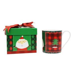 Hrnek z kostního porcelánu v muzikálním balení Silly Design Santa & Christmas tree, 350ml