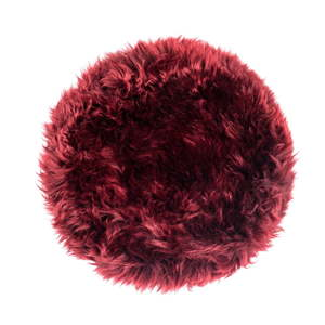 Červený podsedák z ovčí kožešiny na jídelní židli Royal Dream Zealand Round, ⌀ 70 cm
