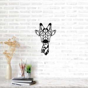 Černá kovová nástěnná dekorace Giraffe Head, 32 x 50 cm