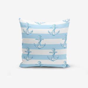 Povlak na polštář s příměsí bavlny Minimalist Cushion Covers Blue White See Concept, 45 x 45 cm