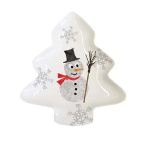 Dekorativní tác z kostního porcelánu s vánočním motivem PPD Im a Snowman