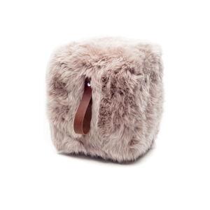 Světle hnědý hranatý puf z ovčí kožešiny s hnědým detailem Royal Dream, 45x45cm