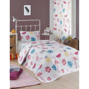 Set přehozu přes postel a povlaku na polštář s příměsí bavlny Eponj Home Kokteyl White, 160 x 220 cm