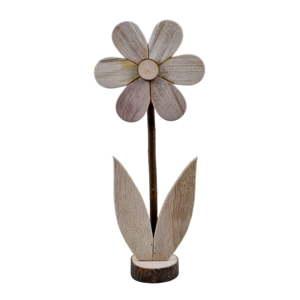 Velká dřevěná dekorace ve tvaru květiny EgoDekor, 16,5x39 cm