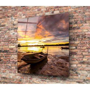 Skleněný obraz 3D Art Boat On A Shore, 50x50cm