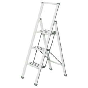 Bílé skládací schůdky Wenko Ladder Alu, výška127 cm