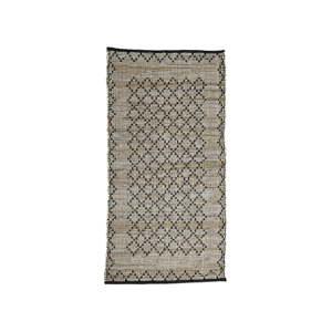 Šedý koženýý koberec Simla, 140x70cm