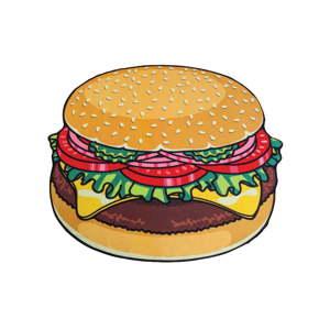 Plážová deka ve tvaru burgeru Big Mouth Inc., ⌀ 152 cm