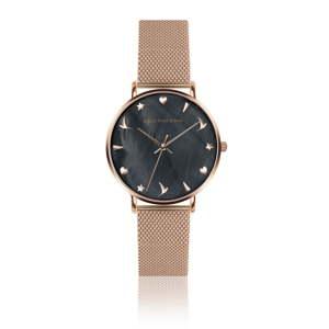 Dámské hodinky s páskem z nerezové oceli ve zlatorůžové barvě Emily Westwood Aura