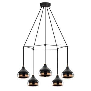 Černé závěsné svítidlo pro 5 žárovek Opviq lights Yildo Web