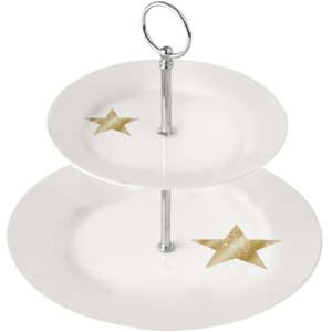 2patrový porcelánový etažér PPD Star Gold