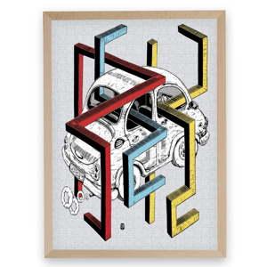 Puzzle z recyklovaných materiálů v bukovém rámu Pucle Autorek, 500dílků
