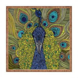Dřevěný dekorativní servírovací tác Peacock, 40x40cm